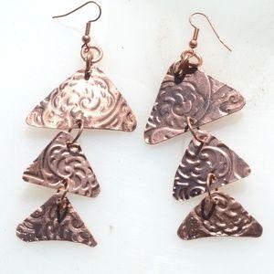 Triangle Geometric Copper Earrings Fish Scales